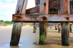 Pier pylons detail. Detail of the weathered wooden pylons construction built in sand of the iconic jetty in Coffs Harbour (Australia&#x29 Royalty Free Stock Image