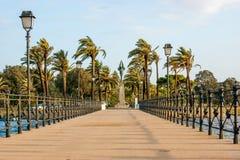 Queen's pier and the monument to the Plus Ultra, in Palos de la Frontera, close to La Rabida, Huelva. Queen's pier and the monument to the Plus Ultra Stock Image