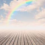Pier with rainbow Stock Image