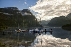 Pier. Recreational pier at the Hallstatter lake, Obertraun, Austria Royalty Free Stock Photography