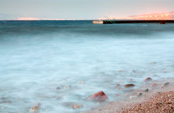Pier in Red Sea at late evening near Aqaba town Stock Photography