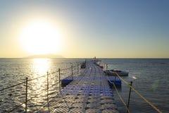 Pier on the Red Sea, Sharm el Sheikh, Egypt. Sunrise royalty free stock image