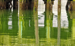 Pier Reflected Water Oregon Arkivbild