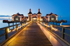 Pier with restaurant in Sellin, Baltic Sea, German Royalty Free Stock Photography