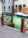 Pier on rio del la pleta canal in Venice city Royalty Free Stock Photo