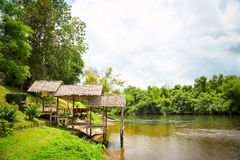 Pier on the river bank. Wooden pier on the river in the jungle royalty free stock photos