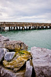 Pier by Rocky Atlantic coast Ireland Royalty Free Stock Photography