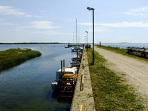 Pier in Saaremaa. Pedestrian Way near the Dock of Saaremaa Island in Estonia Stock Photos
