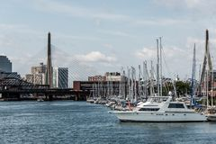 Pier 6 with sailboats at Charles River Harbor and Leonard P. Zakim Bunker Hill Memorial Bridge of Boston, USA stock photography