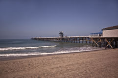 Pier at San Clemente Beach. This is a view of the pier at San Clemente beach royalty free stock photography