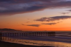 Pier in San Diego at Sunset Stock Photo