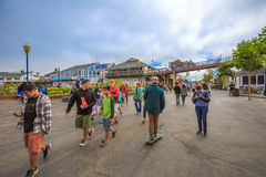 Pier 39 San Francisco. San Francisco, California, United States - August 14, 2016: people and tourists at Fisherman`s Wharf district at Pier 39 along the Stock Photos