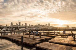 Pier 39 San Francisco. The famous Pier 39 in San Francisco during Snset Royalty Free Stock Image