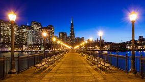 Pier 7 in San Francisco. Pier 7 panorama in San Francisco at night Royalty Free Stock Images