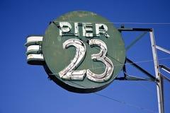 Pier 23. San Francisco`s PIER 23 sign against blue sky Stock Photos