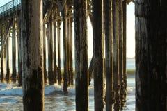 Pier in San Simeon, California, near Hearst Castle, USA. San Simeon pier at sunset with waves, near Hearst Castle, California, USA stock photography