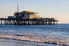 Pier in Santa Monica Beach. Before sunset Stock Photos