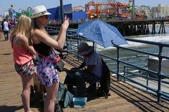 The pier on Santa Monica beach, California Stock Images