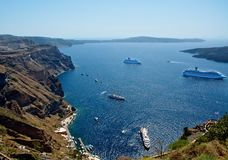 Pier Santorini. A small pier at the foot of the mountain of Santorini, every day encounters thousands of guests from around the world. This small, but very Stock Image
