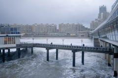 Pier scheveningen in Holland. Pier scheveningen during stormy weather in Holland stock images