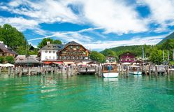 Pier in Schonau am Konigssee for beautiful boat sightseeing tour, Konigssee, Bavaria, Germany Royalty Free Stock Photo