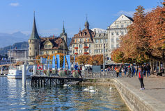 Pier on the Schweizerhofquai quay in Lucerne Stock Images