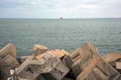 A pier in the sea bay of Cadiz. CADIZ, SPAIN - JULY 4, 2011: A pier in the sea bay of Cadiz Stock Image