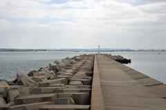 A pier in the sea bay of Cadiz. CADIZ, SPAIN - JULY 4, 2011: A pier in the sea bay of Cadiz Stock Photo