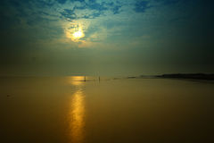 Pier sea evening  In Thailand Royalty Free Stock Photography
