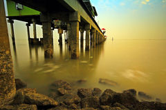Pier sea evening  In Thailand Stock Photos