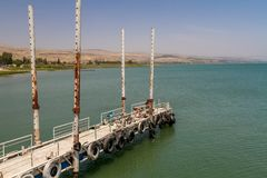 The pier of the Sea of Galilee, Israel. The pier of the Sea of Galilee near Ginosar, Israel royalty free stock images
