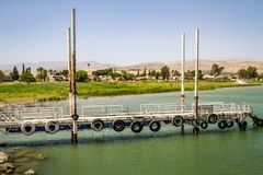 The pier of the Sea of Galilee, Israel. The pier of the Sea of Galilee near Ginosar, Israel. Panorama stock image