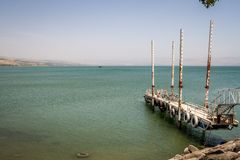 The pier of the Sea of Galilee, Israel. The pier of the Sea of Galilee near Ginosar, Israel. Panorama royalty free stock images