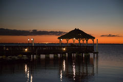 Pier the sea and sunset. Royalty Free Stock Photos
