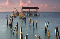 The pier of seagulls Royalty Free Stock Photos