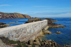 Pier, seagulls, cliffs and coast at St. Abbs, Berwickshire Royalty Free Stock Image