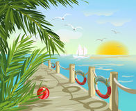 Pier and seascape. Vector illustration Stock Photography