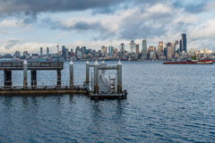 Pier And Seattle Skyline Stock Photo