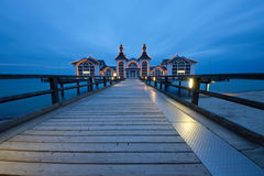 Pier of Sellin on a cloudy evening Royalty Free Stock Photography