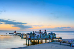 The pier of Sellin at dusk. The pier of Sellin at the Baltic Sea at dusk Stock Image