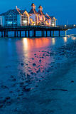 The pier of Sellin at night Stock Images