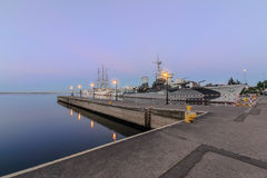 Pier and ships in Gdynia in the evening. Poland. Royalty Free Stock Photos