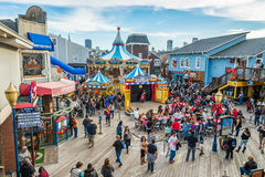 Pier 39 is a shopping center and popular tourist attraction built on a pier in San Francisco Royalty Free Stock Photography