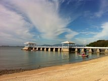 Pier, sky and. Pier at King Rama 5's palace, Srichang Island, Thailand royalty free stock photos