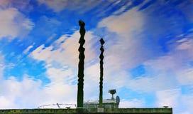 Pier Sky Reflection Westport Grays Harbor Washington State Stock Images