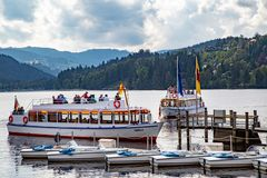 Lake cruising boat stock photography