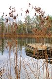 Pier in small pond located in Hayward, Wisconsin Stock Images