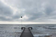 A pier. A small pier at Seascale, Cumbria, England stock photo