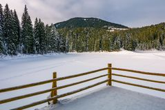 Pier on snow covered forest lake in mountains. Wooden pier on snow covered forest lake in mountains. gorgeous winter landscape in soft morning light Stock Photo