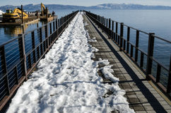 Pier with snow Stock Photography